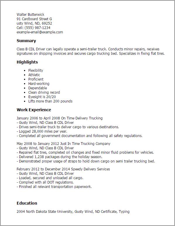 sample resume for class b driver class b cdl driver resume sample free resume builder professional