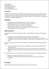 #1 Community Development Officer Resume Templates: Try ...