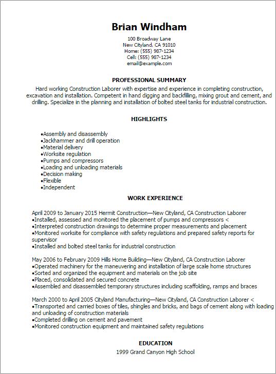 resume for construction labourer construction worker resume sample resume genius professional construction laborer resume templates to - Labourer Cv