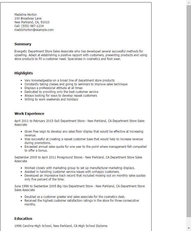 sample resume for cosmetics sales associate professional resumes