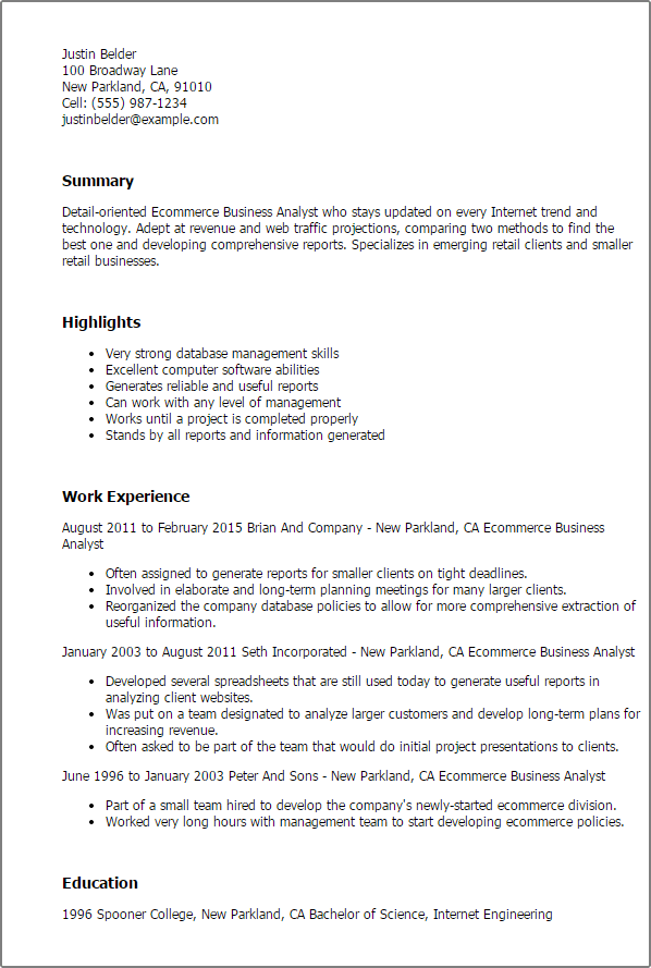 business analyst resume summary examples - Business Analyst Resume Summary