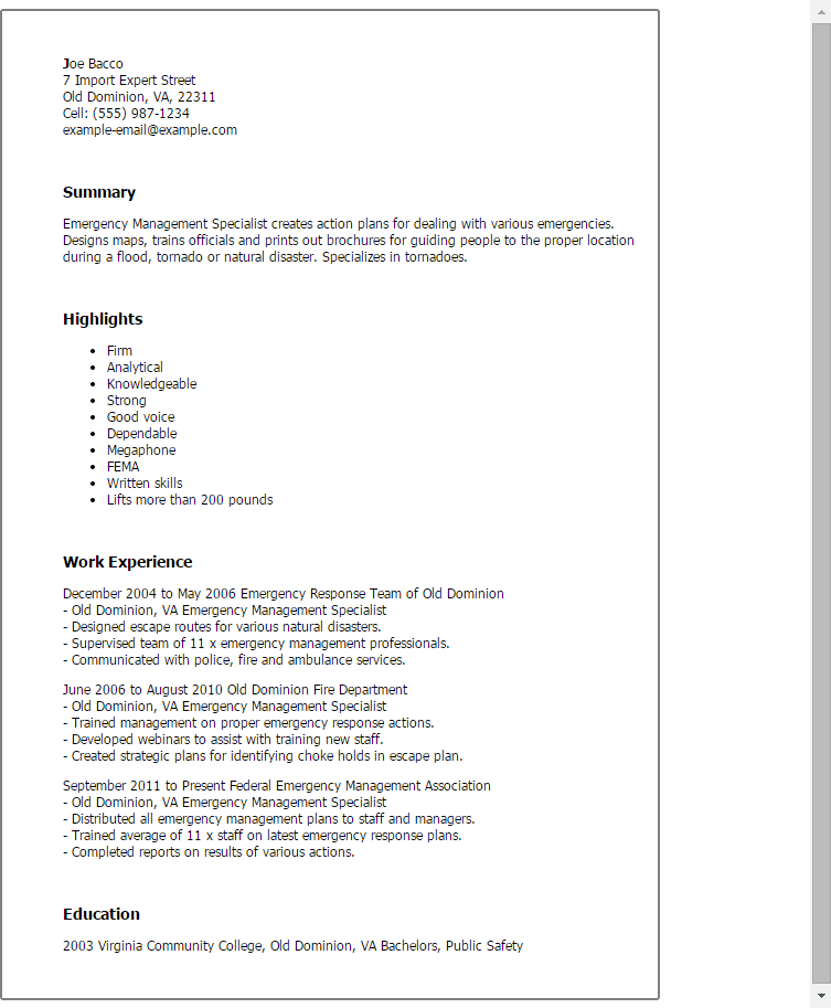 resume examples inventory control specialist