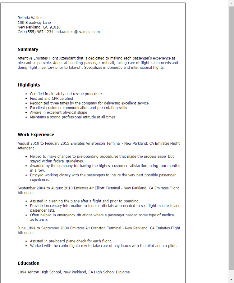 My Perfect Resume Templates Yourmomhatesthis Professional Emirates Flight Attendant Templates To