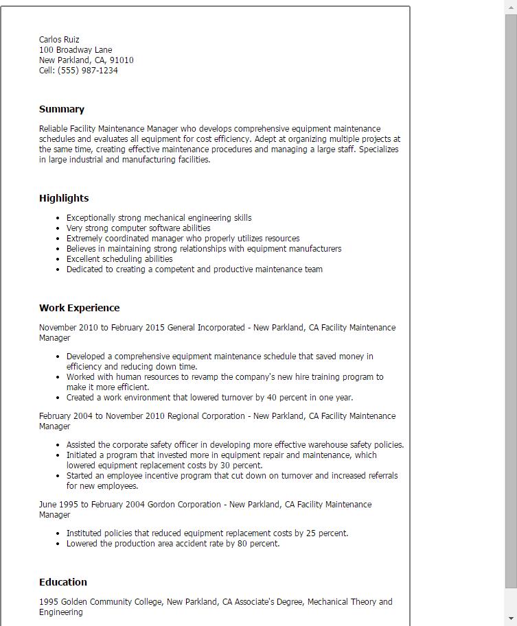 production supervisor resume