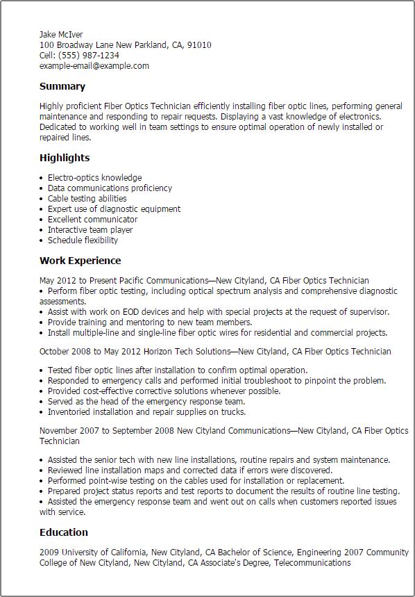 management resume summary it technician resume example with summary statement professional fiber optics technician templates to