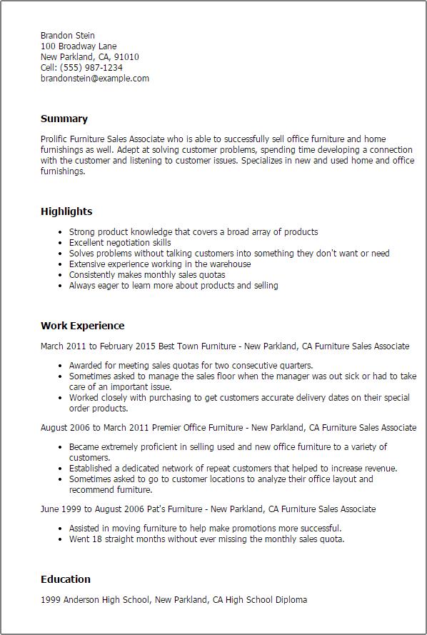 furniture sales resume sample sample resume template