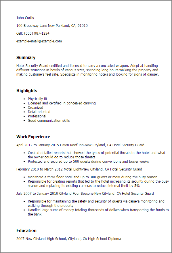 professional security officer resume example