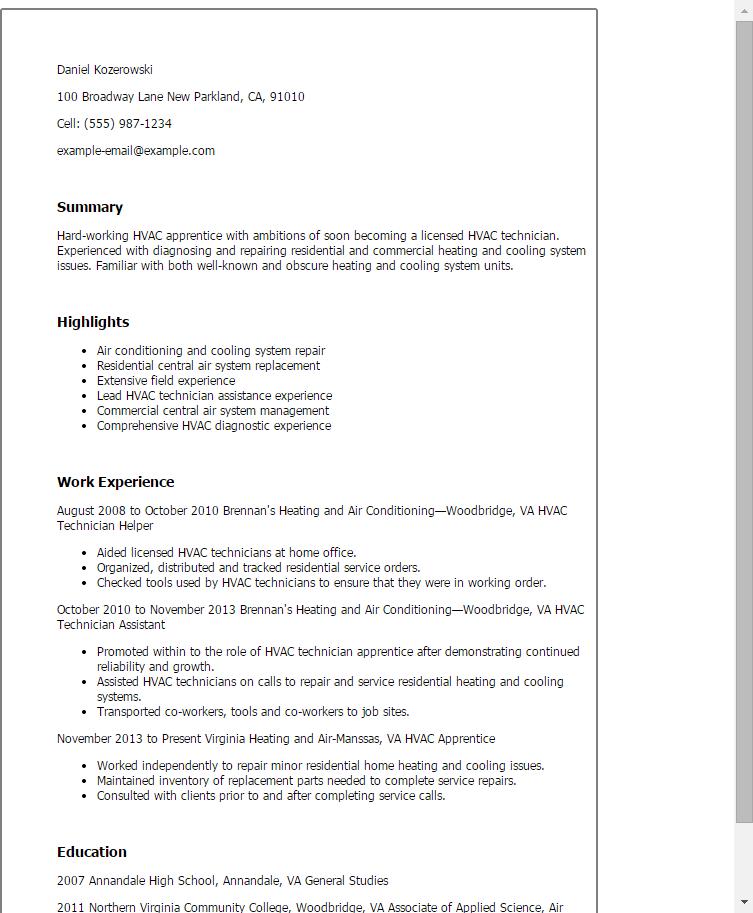 Amazing Resume Creator Hvac Resume Profile Bestsellerbookdb