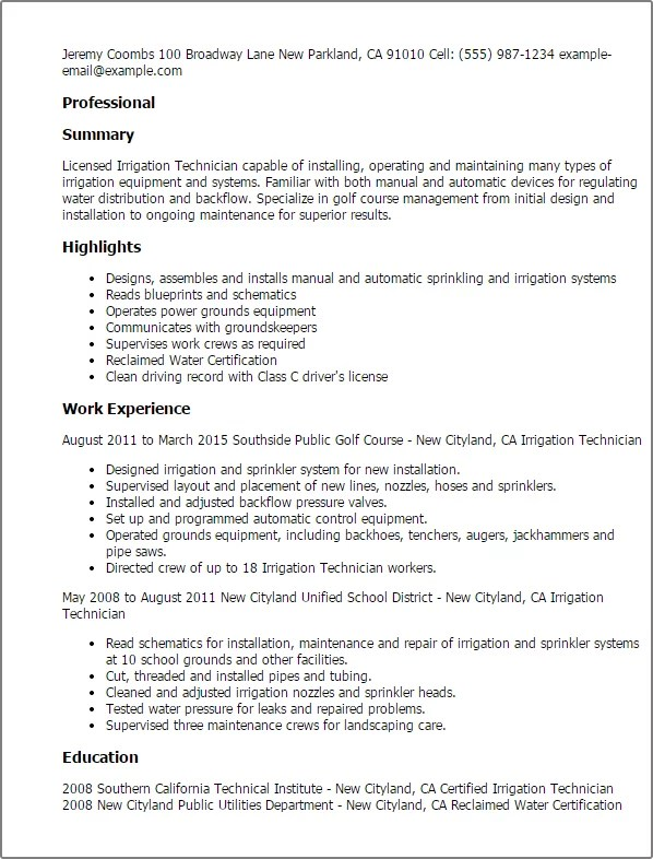 Resume examples for licensed installers