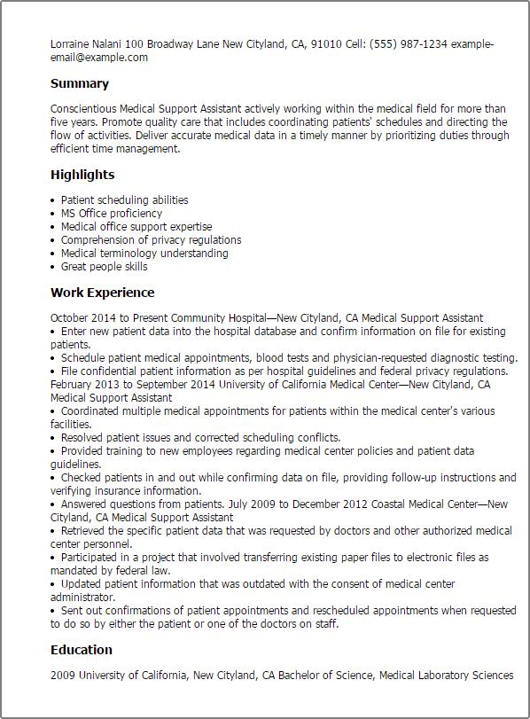 Sample Federal Resume Medical Support Assistant Sample Resume Free Resume  Examples Medical Resume Template Resume Format