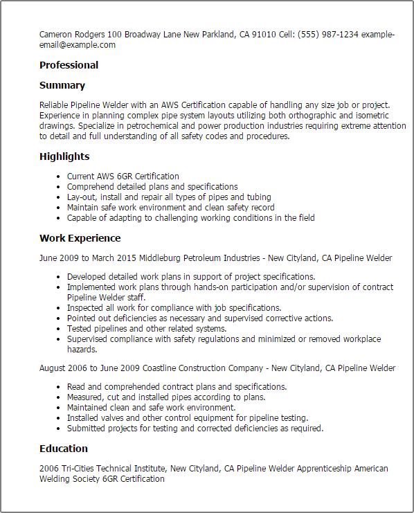 welder helper resume