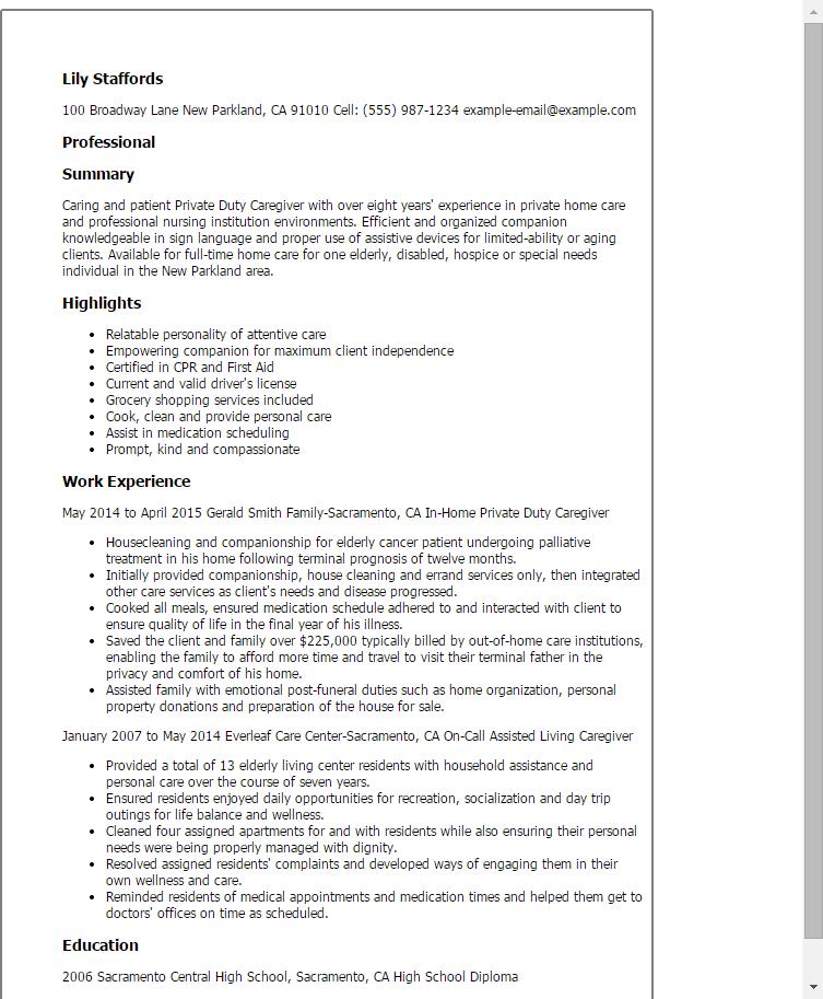 sample resume for caregiver - Sample Caregiver Resume