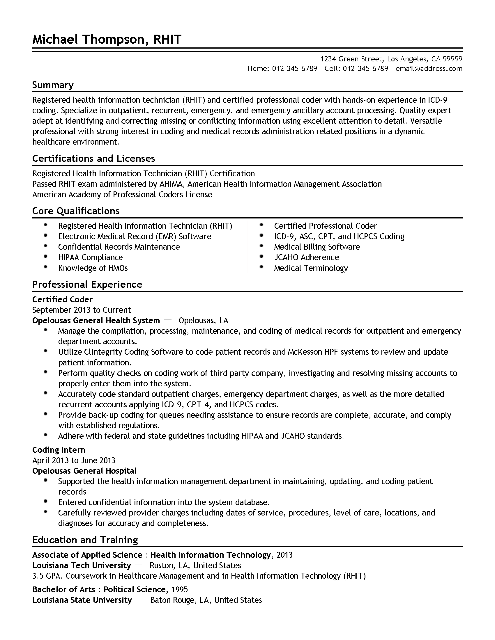 perfect resume samples and examples