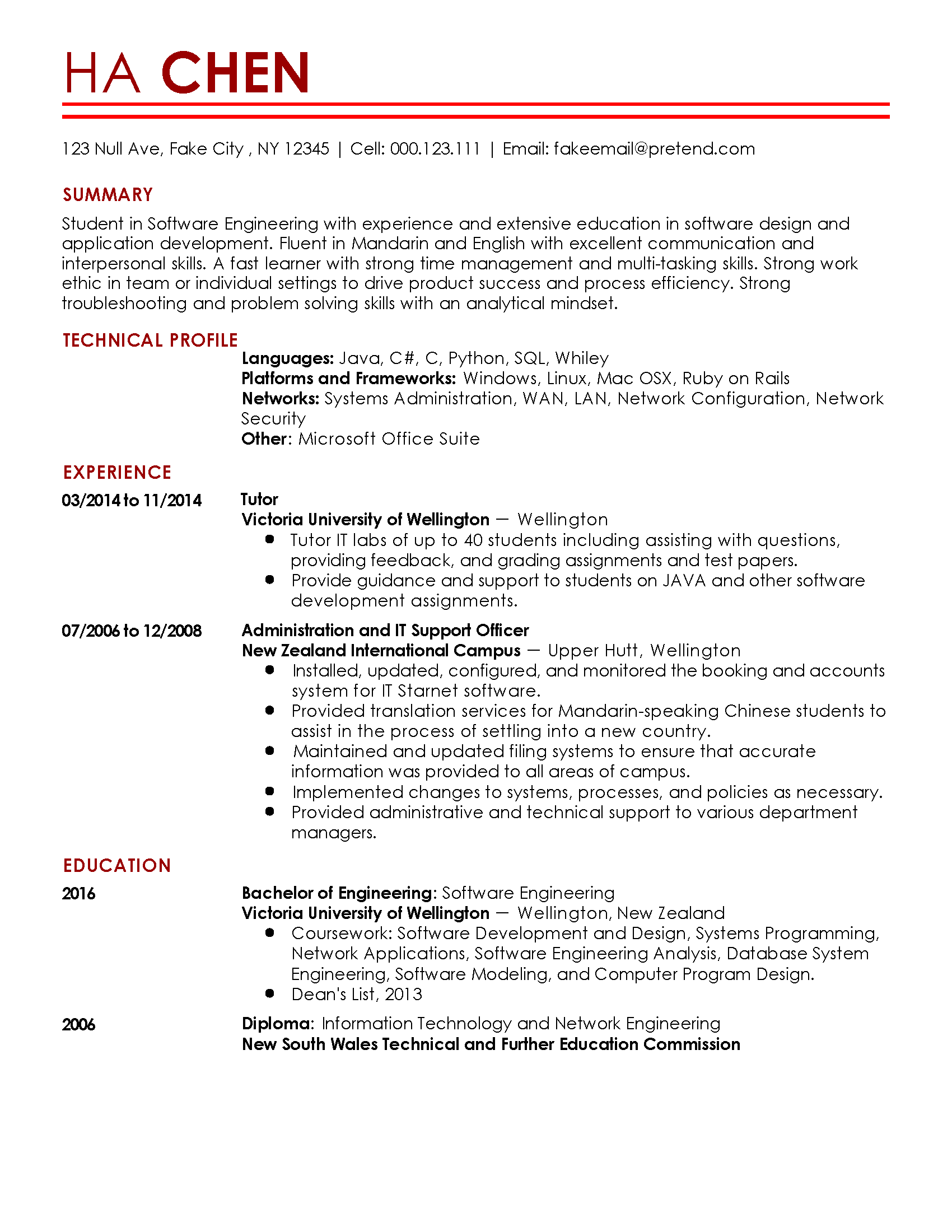 sample resume for 1 year experienced software developer