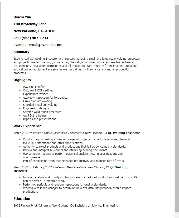 Resume For Quality Control Inspector Qc Welding Inspector Resume