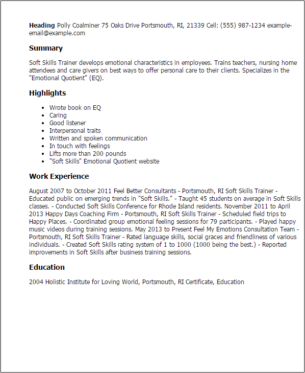 trainer resume summary examples trainer resume examples - Pilates Instructor Resume