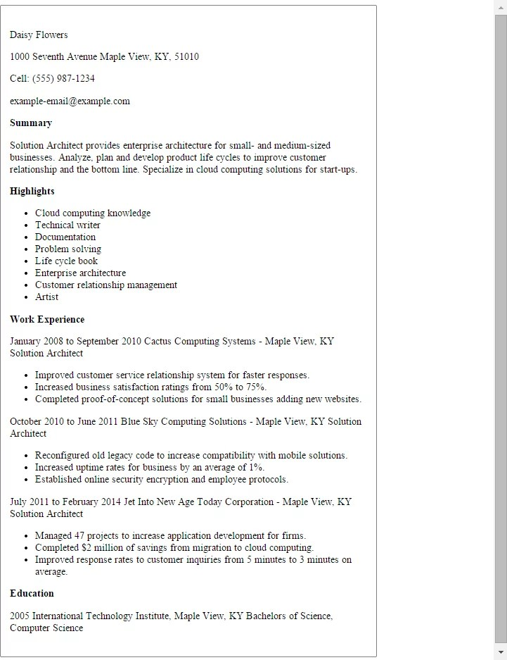 Enterprise Architect Sample Resume] Sample Of Enterprise Architect ...