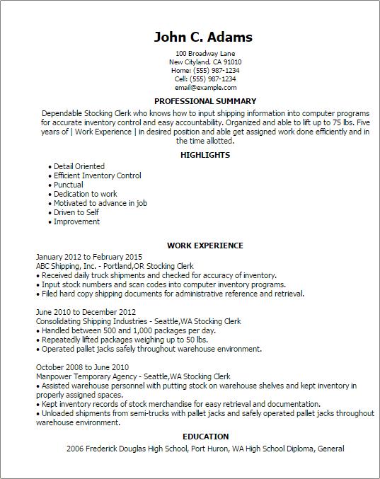 Elementary school clerk resume
