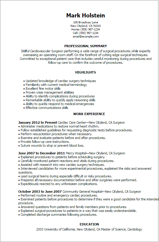 Surgeon Resume Samples And Templates Professional Surgeon Templates To Showcase Your Talent