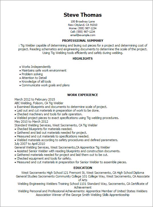 resume for welder resume templates tig welder