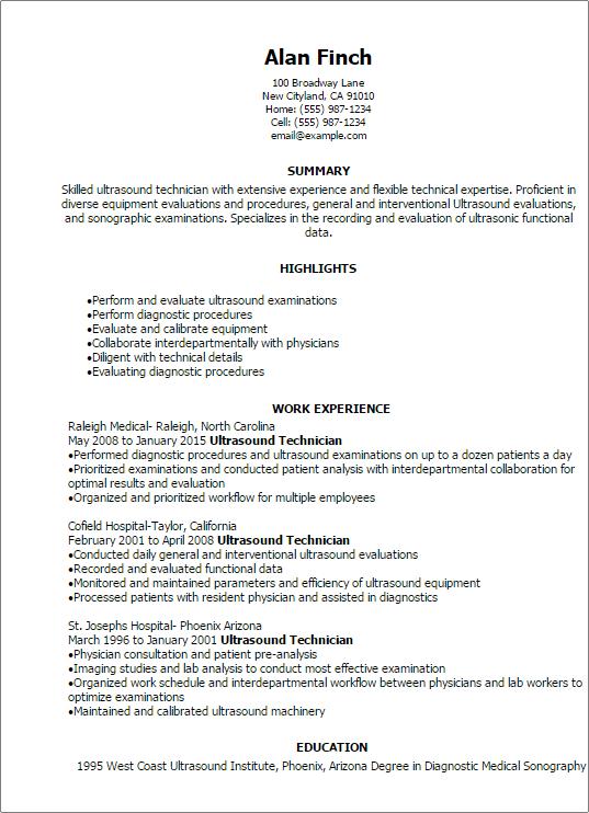 Ultrasound Tech Resume