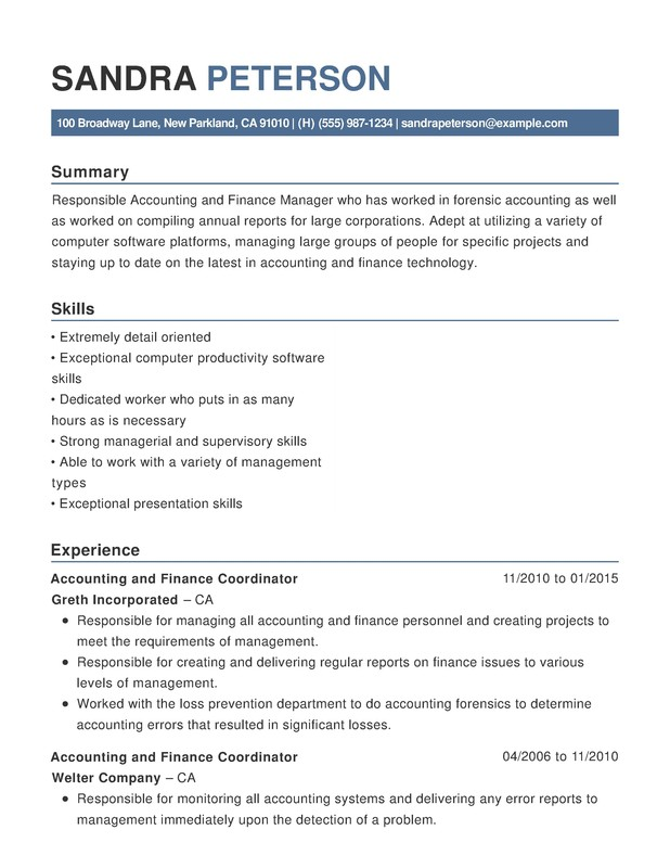 Accounting  Finance Chronological Resumes - Resume Help - supervisory accountant sample resume