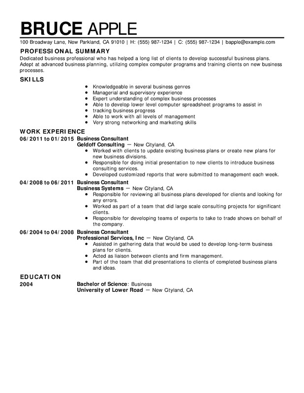 Business Chronological Resumes - Resume Help - Business Resume