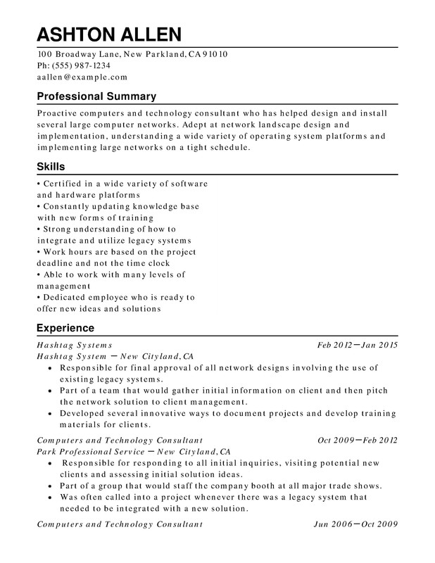 Computers  Technology Chronological Resumes - Resume Help - Technology Resume