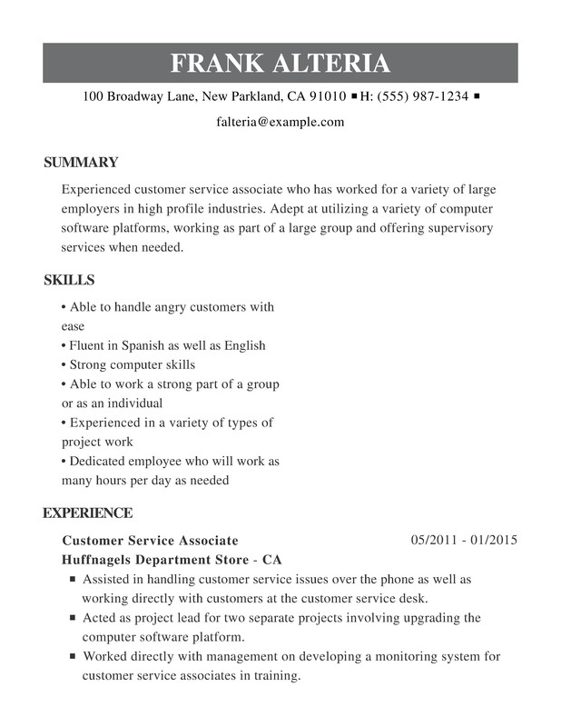 Customer Service Chronological Resumes - Resume Help