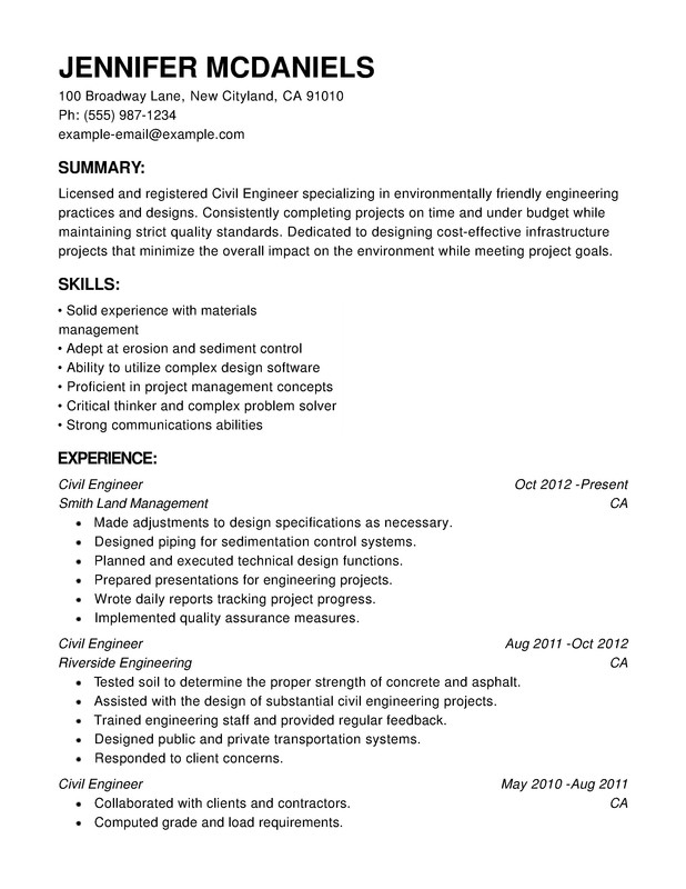 Engineering Chronological Resumes - Resume Help