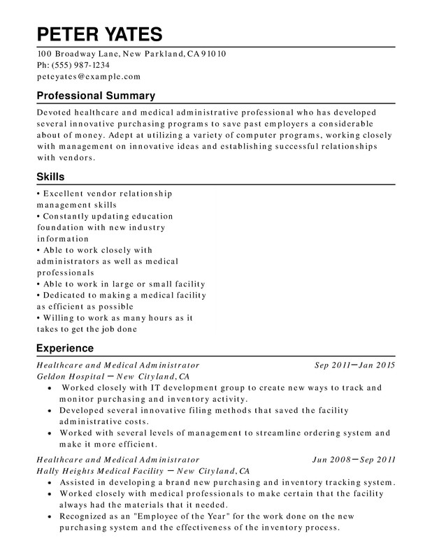 Healthcare  Medical Chronological Resumes - Resume Help