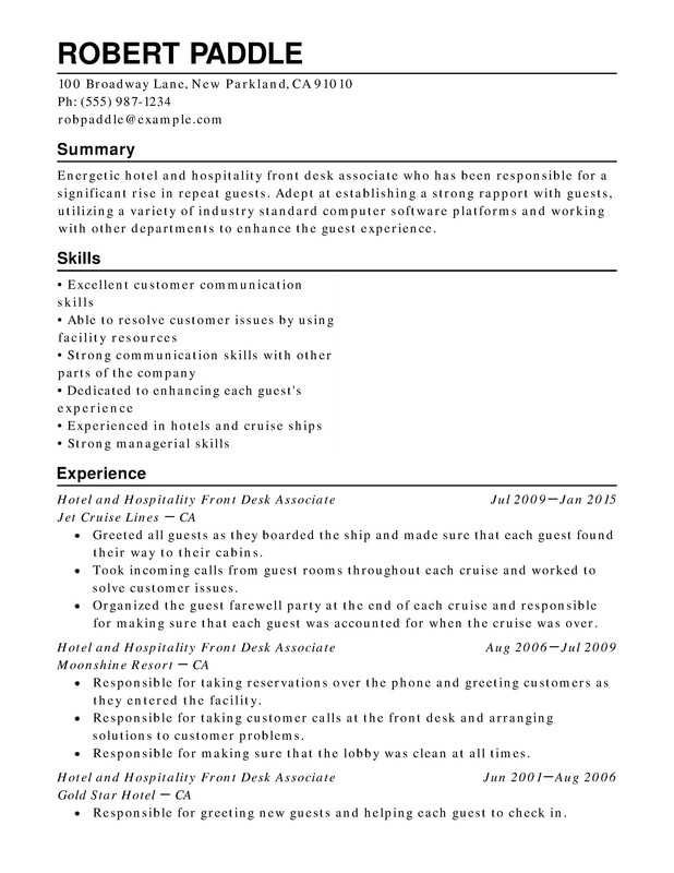 Hotel  Hospitality Chronological Resumes - Resume Help