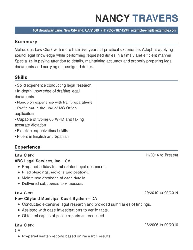 Law Chronological Resumes - Resume Help