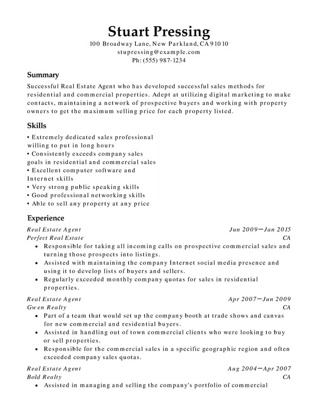 Real Estate Chronological Resumes - Resume Help