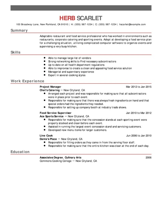Restaurant  Food Service Chronological Resumes - Resume Help - culinary arts resume