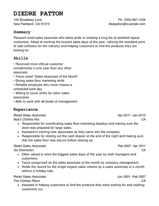 Retail Chronological Resumes - Resume Help - retail resume