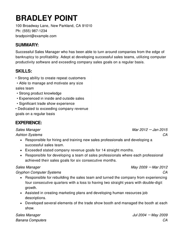 Sales Chronological Resumes - Resume Help - resumes for sales