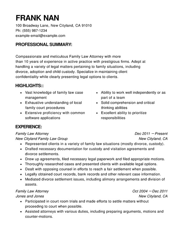 Law Functional Resumes - Resume Help - legal attorney resume