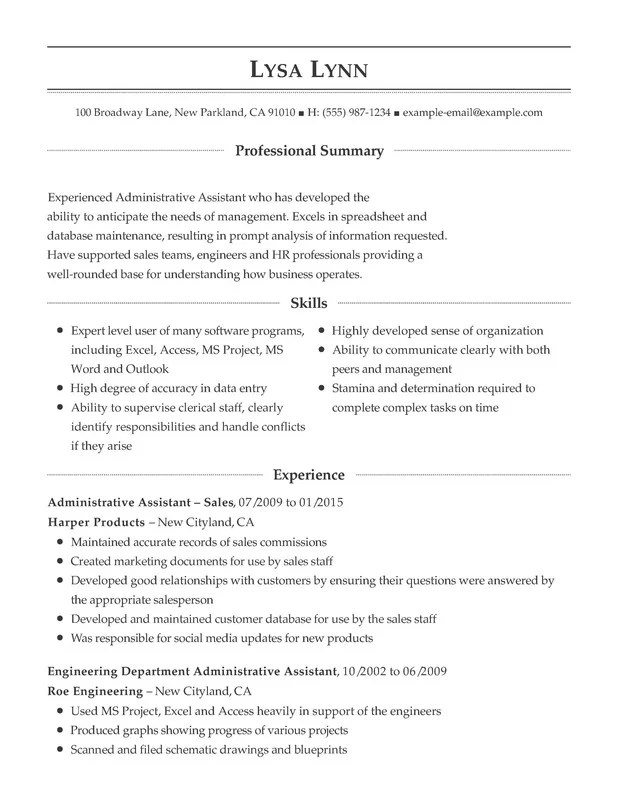 Administrative Support Combination Resume - Resume Help