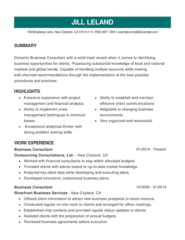 Business Combination Resume - Resume Help