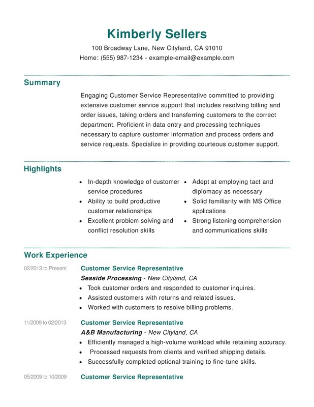 Customer Service Combination Resume - Resume Help - resume skills customer service