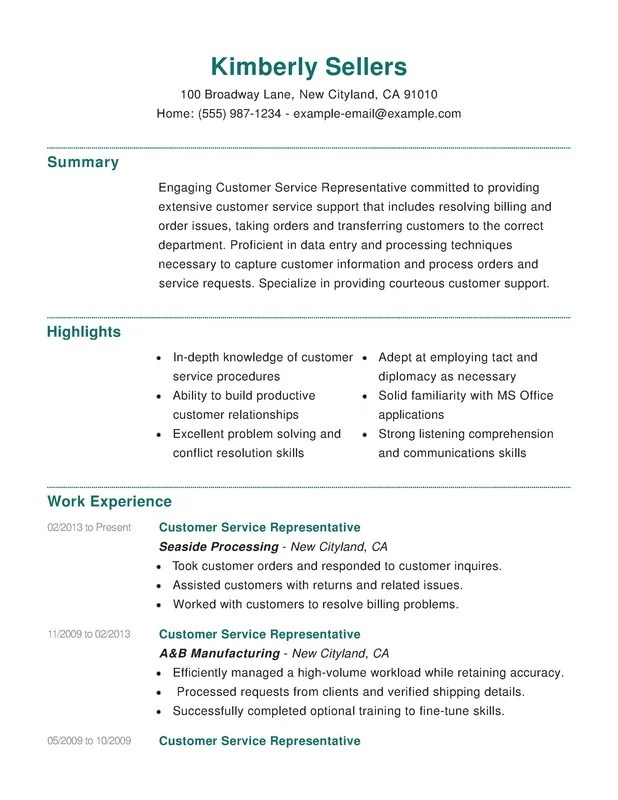 Customer Service Combination Resume - Resume Help