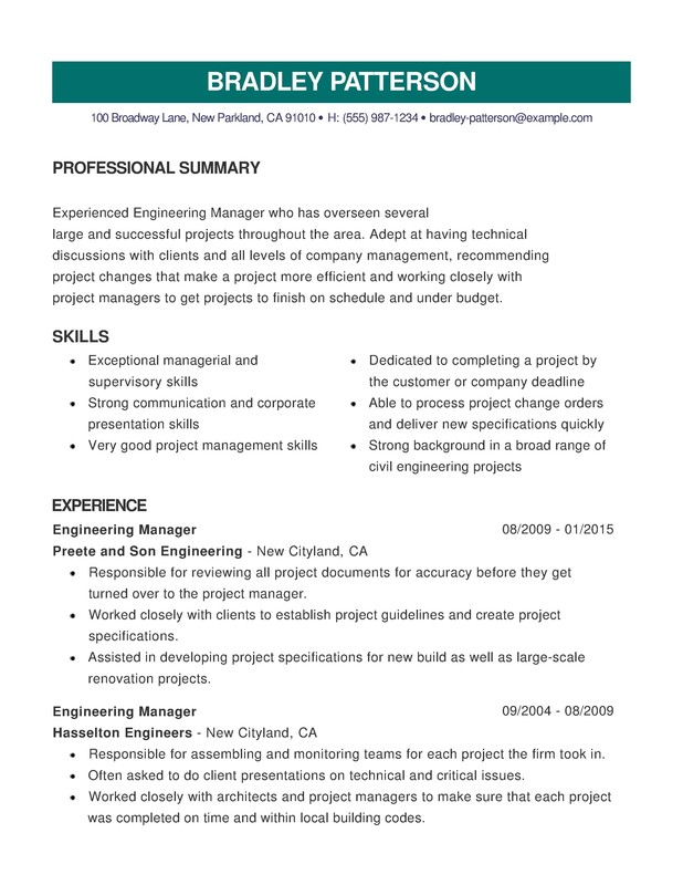 Engineering Combination Resume - Resume Help - Engineering Manager Resume