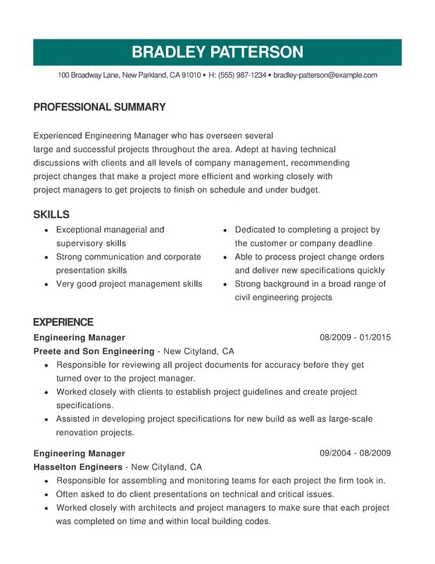 Engineering Combination Resume - Resume Help - Experienced Engineer Resume