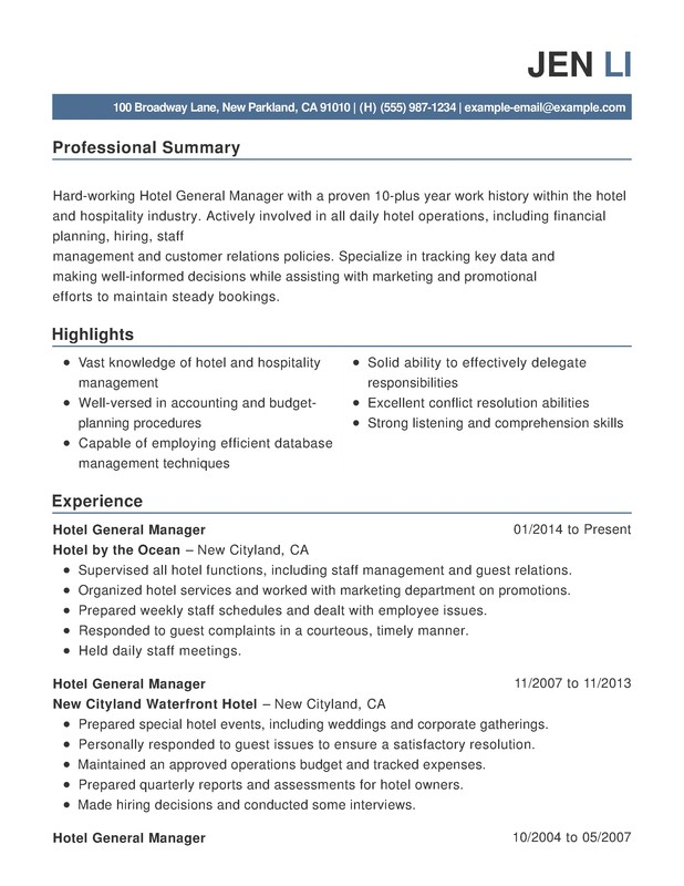 resume template for hospitality work