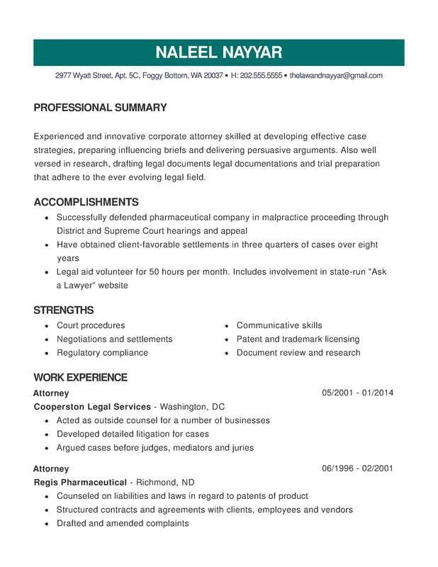 Law Combination Resume - Resume Help - trademark attorney resume