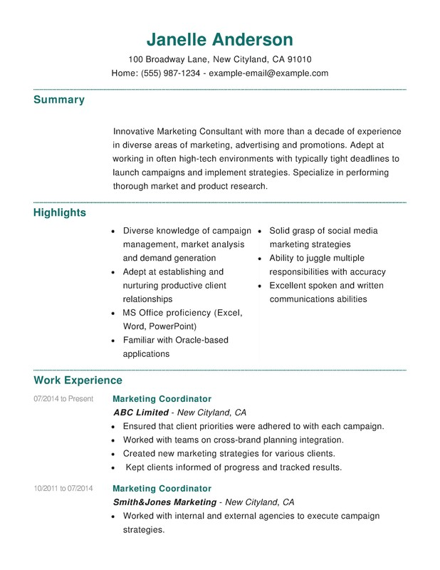 Marketing Combination Resume - Resume Help - sample combination resume