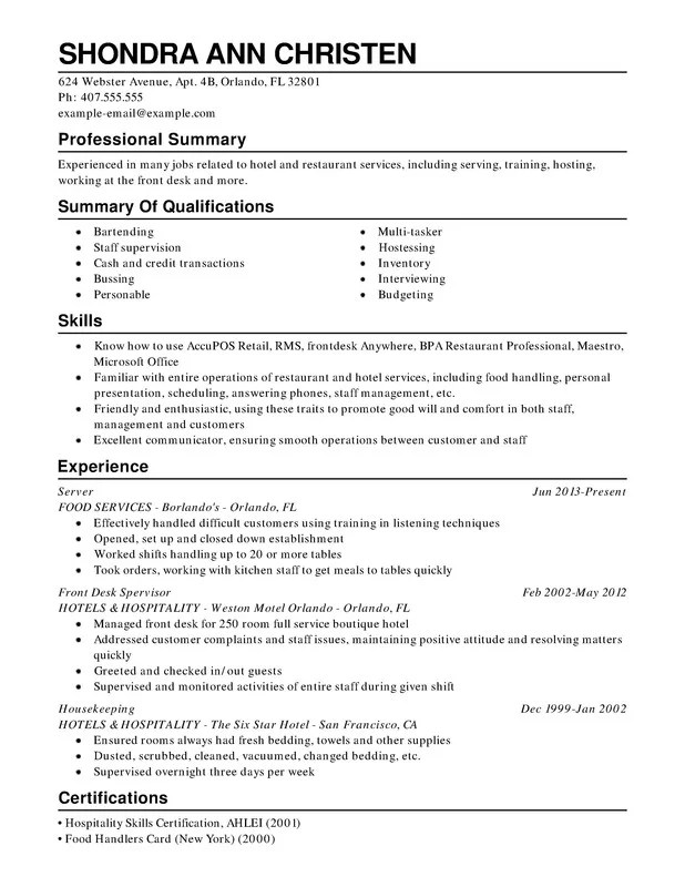 Restaurant  Food Service Combination Resume - Resume Help