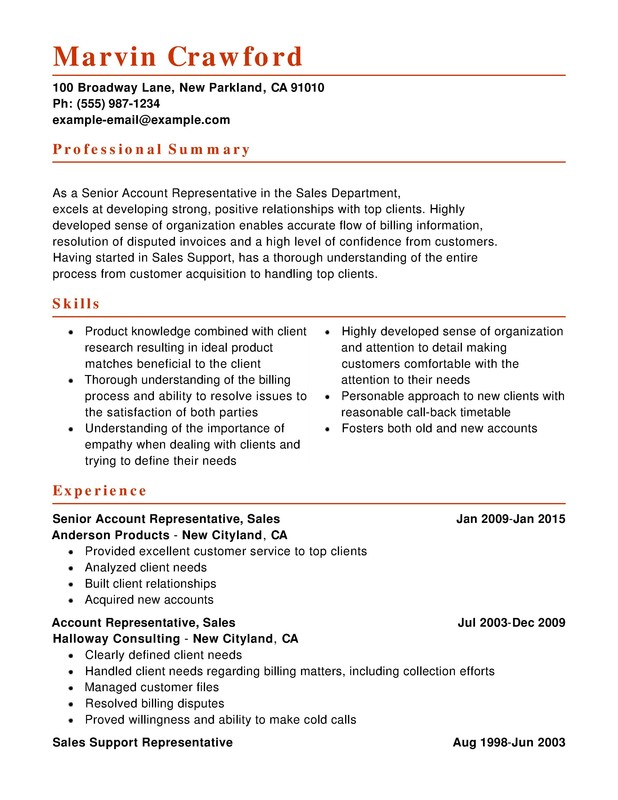 resume samples for customer service and sales
