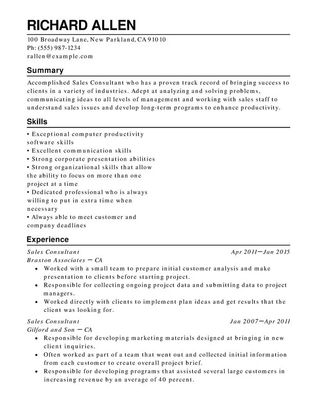 Retail Functional Resumes - Resume Help - Retail Resume Example